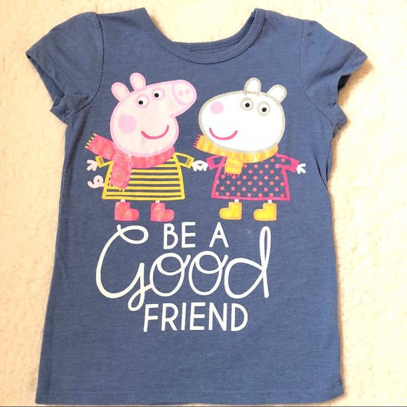 Peppa Pig T-Shirt Toddler Girls Size 3T Short Sleeve Navy Stay Cute NEW